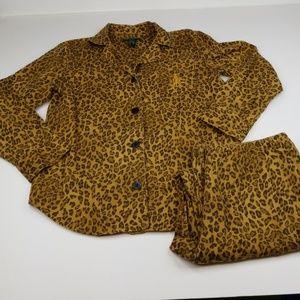 LRL ▪ Leopard Print Flannel PJ's (2pc) EUC
